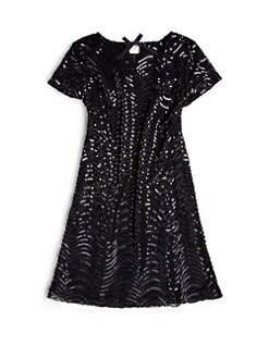 ABS - Girl's Scalloped Sequin Shift Dress