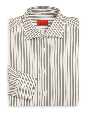 Regular-Fit Multi-Stripe Cotton Dress Shirt