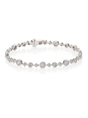 Sunburst Diamond & 18K White Gold Tennis Bracelet
