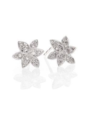 Sunburst Diamond & 18K White Gold Petal Stud Earrings