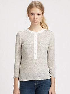 Marc by Marc Jacobs - Slub Linen Contrast Top