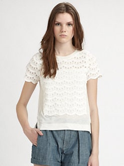 Marc by Marc Jacobs - Eyelet-Paneled Tee