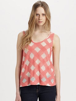 Marc by Marc Jacobs - Gauze Check-Print Tank