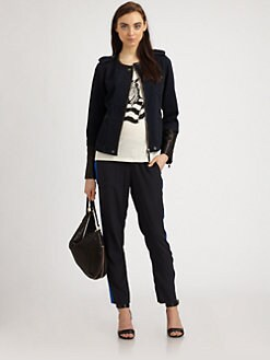 Marc by Marc Jacobs - Kristine Denim & Leather Moto Jacket