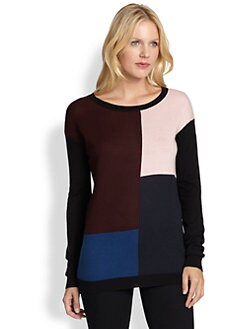 DKNY - Silk & Cashmere Colorblock Sweater