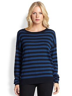 DKNY - Striped Dropped-Shoulder Top