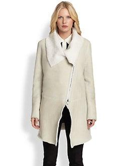 DKNY - Asymmetrical Shearling Coat