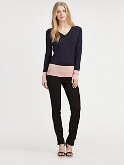 DKNY - Silk/Cashmere Colorblock Sweater