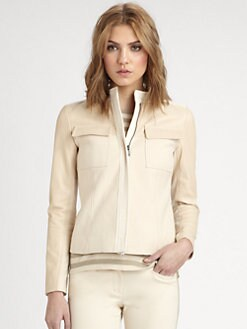 DKNY - Leather-Sleeve Shaped Jacket