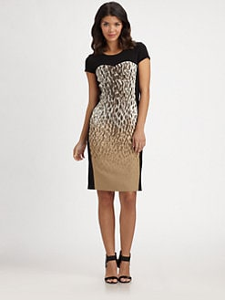 DKNY - Leopard-Print Inset Dress