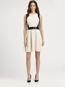 DKNY - Sleeveless Leather-Waist Dress