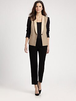 DKNY - Leather-Collar Colorblock Jacket