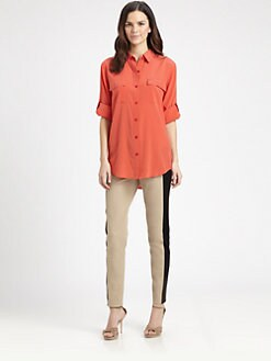 DKNY - Stretch-Silk Hi-Lo Blouse