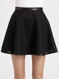 DKNY - Leather-Mesh Circle Skirt