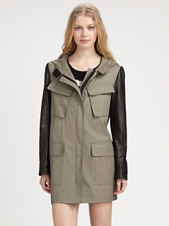 DKNY - Leather-Sleeve Utility Parka
