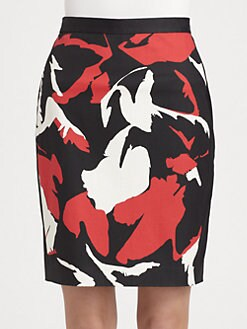 DKNY - Abstract-Print Pencil Skirt