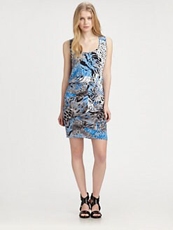 DKNY - Printed Draped-Skirt Dress