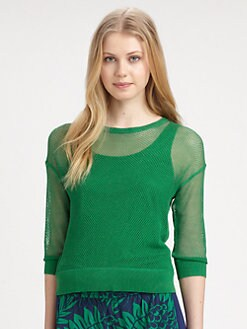 DKNY - Mesh-Sleeve Pullover