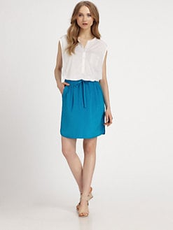 DKNY - Sheer-Shouldered Jersey Top