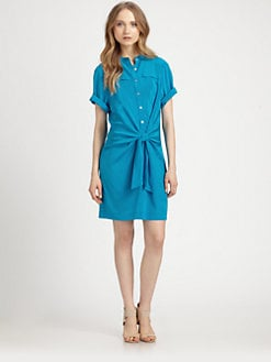 DKNY - Tie-Front Stretch Silk Shirtdress