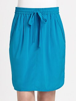 DKNY - Stretch Silk Drawstring Skirt