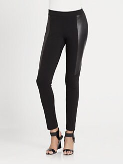 DKNY - Leather-Panel Leggings
