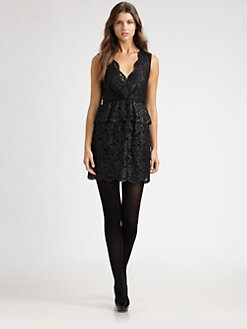 DKNY - Metallic-Lace Peplum Dress
