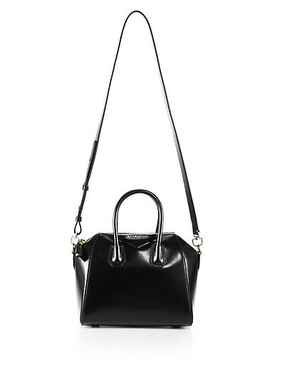 BLACK SMALL ANTIGONA BRUSHED LEATHER TOP HANDLE BAG