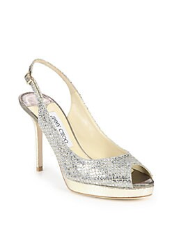 Jimmy Choo - Nova Glitter-Covered Leather Peep-Toe Pumps