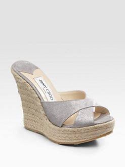 Jimmy Choo - Phyllis Suede Espadrille Wedge Slides