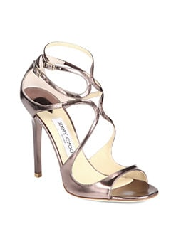 Jimmy Choo - Lance Mirrored Metallic Leather Sandals