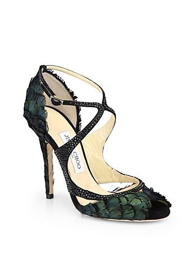 Kamelia Shimmer Feather Sandals