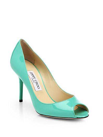 Evelyn Patent Leather Peep-Toe Pumps