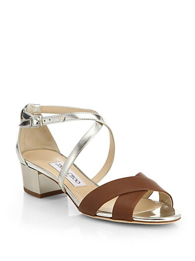 Merit Crisscross Mirror Leather Sandals