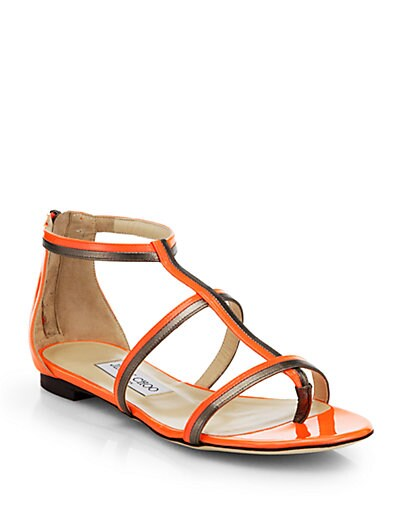 Tabitha Metallic  Neon Patent Leather Sandals