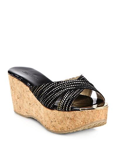 Prima Metallic Suede Cork Wedge Sandals