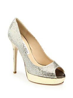 Jimmy Choo - Crown Glitter-Covered & Metallic Leather Pumps