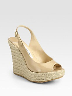 Jimmy Choo - Polar Patent Leather Slingback Espadrille Sandals