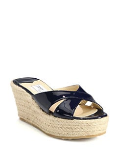 Jimmy Choo - Paisley Patent Leather Wedge Espadrille Slides