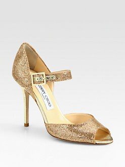 Jimmy Choo - Pebbled Metallic Leather Mary Jane Pumps