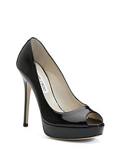 Jimmy Choo - Crown Patent Leather Peep-Toe Pumps