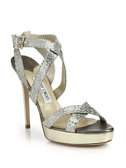 Jimmy Choo - Vamp Glitter-Coated Leather & Metallic Leather Platform Sandals