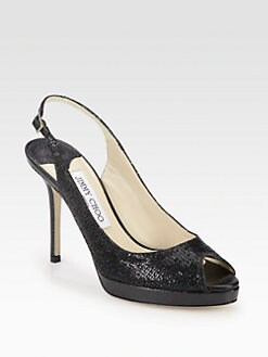Jimmy Choo - Nova Glitter Snake-Print Leather Slingback Pumps
