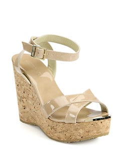 Jimmy Choo - Papyrus Patent Leather and Cork Wedge Sandals