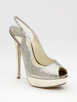 Jimmy Choo - Vita Glittered Metallic Leather Slingback Peep Toe Pumps