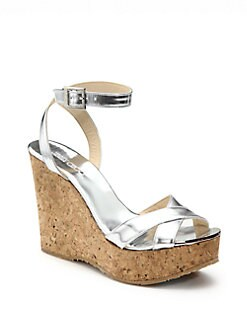 Jimmy Choo - Mirrored Leather & Cork Wedges
