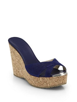 815ab8539fceaa Jimmy Choo Perfume Leather Cork Wedge Sandals