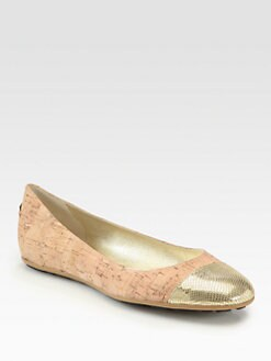 Jimmy Choo - Whirl Cork & Metallic Leather Ballet Flats
