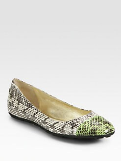 Jimmy Choo - Whirl Snakeskin Cap-Toe Ballet Flats
