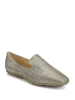 Jimmy Choo - Wheel Glitter Lamé Smoking Slippers